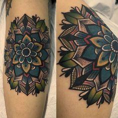 I love seeing how they incorporated color into their mandala, rather than just a plain black line tattoo.