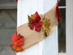 Make a Burlap and Fall-Leaf Garland for Thanksgiving >> http://www.diynetwork.com/decorating/how-to-make-burlap-and-fall-leaf-garlands/pictures/index.html?i=1?soc=pinterest