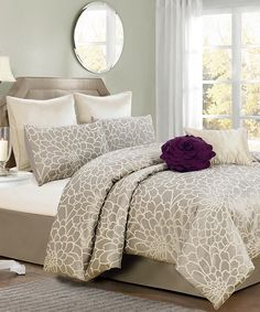 Take a look at this Silver & Beige Emma Flower Comforter Set on zulily today!