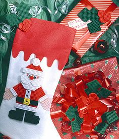 Christmas Accents Santa and Holly Plastic Canvas Pattern ePattern