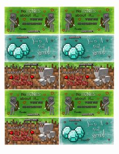 DIY Minecraft Valentine Cards -also has free printable Minecraft V-day cards and tutorial.