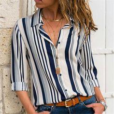 Women'S fashion long sleeve loose blouse casual striped shirt summer chiffon tops t-shirt Chiffon Shirt, Chiffon Tops, Chiffon Blouses, Casual Tops, Casual Shirts, Top Mode, The Office Shirts, Work Shirts, Striped Long Sleeve Shirt