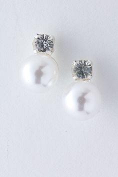 Crystal Stud Pearl Earrings