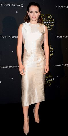 See 10 of Daisy Ridley's Head-Turning Looks While Promoting Star Wars: The Force Awakens - Daisy Ridley in a gold sheath dress on Nov. 26, 2015  - from InStyle.com