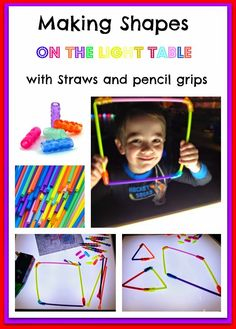 CAUTION! Twins at play!: Straws and pencil grips and light table fun
