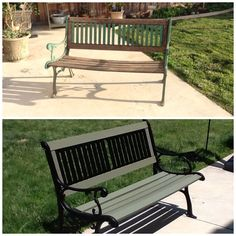 Refurbished old garden bench. RePainted the rod iron. My husband then replaced all the wood with strong oak and I painted with a sage green stain. Love our finished project!!