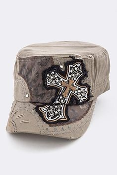 Camo Cross Cadet Cap Khaki, $24.99 (http://www.cowgirlblingranch.com/products/camo-cross-cadet-cap-khaki.html)