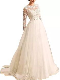 online shopping for KevinsBridal Women's A-Line Long Sleeves Lace Bridal Gowns from top store. See new offer for KevinsBridal Women's A-Line Long Sleeves Lace Bridal Gowns Gowns With Sleeves, Wedding Dress Sleeves, Cute Dresses For Teens, Pretty Dresses, Toddler Flower Girl Dresses, Beaded Gown, Bridal Wedding Dresses, Wedding Simple, Gowns Online
