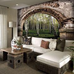 Tapeta kamienny łuk z widokiem na las. Odprężający widok, idealny do sypialni.