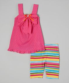 Loving this Sweet Heart Rose Pink Stripe Open-Back Tunic & Shorts - Infant, Toddler & Girls on #zulily! #zulilyfinds