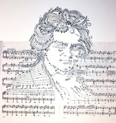 Beethoven: This work by artist Erika Iris Simmons is a collection of faces and figures that grow out of reconfigured musical notes and the negative space that results from these shapes.