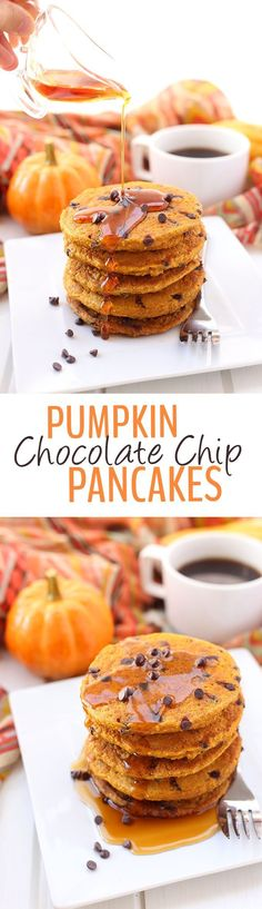 Add some spice to your regular ole' breakfasts with these Pumpkin Chocolate Chip Pancakes. They're entirely gluten-free, made from oat flour and sweetened with just a touch of maple syrup. You will fall head over heels for these fluffy and spicy and panca