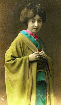 Geisha Sakae - hand coloured (by Blue Sakae (栄え) also written as (さかえ) was a Meiji-Taisho era geisha from the Shitaya (下谷) g. Japanese Geisha, Japanese Beauty, Vintage Japanese, Japanese Art, Japanese Female, Japanese Kimono, Japanese Things, Old Pictures, Old Photos