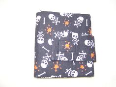Items similar to Unisex Trifold Fabric Pocket Wallet - Skull and Crossbones Black Orange White on Etsy Great Mothers Day Gifts, Pocket Wallet, Wallets, Skull, Unisex, Trending Outfits, Unique Jewelry, Handmade Gifts, Fabric