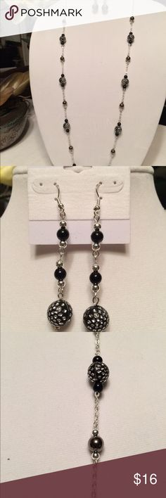 Necklace and Earring Set Sterling Silver Chain-Black and Silver Beads with dark Silver Pearls Necklace and Earring Set Jewelry
