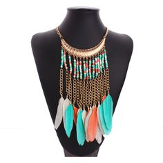 Zinc Alloy Beads Long Tassel Feather Necklace Choker Fashion Party Bohemian Necklaces Women Jewelry collar colores FHA0268