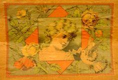 Antique Trunk, Little Girl & Flowers Artwork