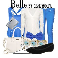 """♥ this Belle from """"Beauty and the Beast"""" Disneybound outfit!! Blue, white, and black make for such a great color combination!! I especially ♥ the book necklace and the purse!! ♥"""
