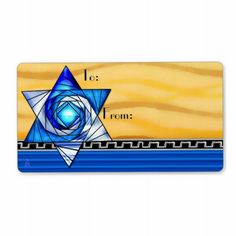 Stained Glass Magen David (To-From Gift Tags) - Large Self-Stick to/from labels features Jewbilee's original digital painting of an Art Deco inspired stained glass Star of David in varying shades of royal blue floating above a 3 layered background of deep yellow waves, silver on black greek key, and royal blue horizontal stripes. Coordinating wrapping paper @ www.zazzle/jewbilee?rf=238155573613991097&tc=pnt