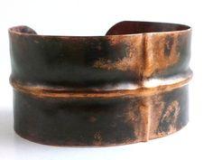 Men's Copper Bracelet Cuff Fold Formed by HAMMERHEADdesigns