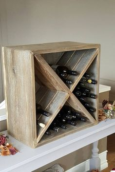 Wine Rack - This reclaimed wood wine box is made from real Canadian weathered wood found in the Okanagan Valley in British Columbia. Its weather look is Vin Palette, Palette Deco, Palette Wine Rack, Wine Rack Inspiration, Decoration Palette, Wine Rack Design, Wine Rack Storage, Kitchen Storage, Box Storage