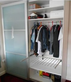 IKEA PAX fitted wardrobe, aluminium and white frosted doors