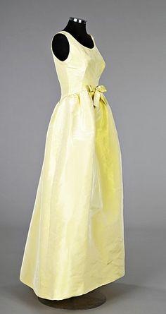 A Cristobal Balenciaga primrose yellow silk ball gown