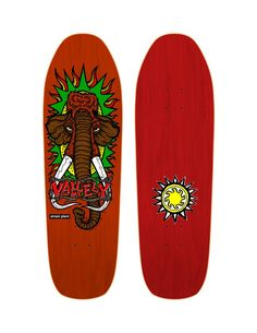 """Street Plant Screen Printed Vallely Woolly Mammoth Skateboard Deck This is limited (one and done) run of Hand Screened Vallely Mammoth Decks Orange bottoms, red tops Width: 9.5"""" Length: 32.62"""""""