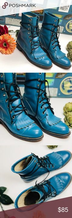 [justin boots] vintage blue lacers 80's VINTAGE TURQUOISE LACE-UP JUSTIN BOOTS  Fit a women's size 7 and could use some breaking in! I'm almost perfect condition. True to size. Western love!  Ultra rare and highly coveted. Justin Boots Shoes Lace Up Boots