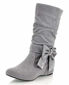 644fd32a4f0 IDIFU Women's Sweet Bow Rhinestone Slouch Riding Mid Calf Boots With Heels  Inside *** You can get additional details at the image link.