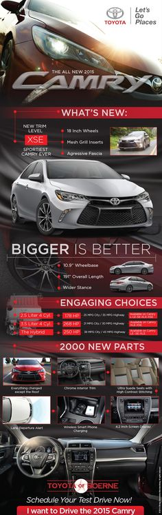 Here is an infograph about what's new for the 2015 Toyota Camry. http://news.toyotaofboerne.com/2015-toyota-camry-whats-new-infograph/