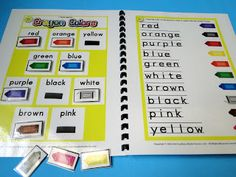 Early elementary people, do you know about my Crayon Color Words MagnetMat freebie? Have I even really explained what a MagnetMat is? Well, over the summer, the little wheels in my head began spinning, and Color Activities, Learning Activities, Kids Learning, Kindergarten Colors, Preschool Kindergarten, Preschool Printables, Preschool Ideas, File Folder Games, File Folders