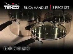 A great addition to any kitchen, the Tenzo S II series silica handles 3 piece set is a premium quality stainless steel cookware set with stainless steel fittings and silica handles. The range has encapsulated bases for even heat distribution and efficient, energy saving cooking. In addition the set has soft grip silica handles for added comfort and the small, medium and large saucepans have tempered glass lids with vents.  http://www.premierhousewares.co.uk