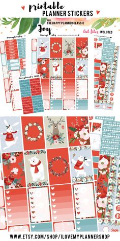Happy Planner stickers. Christmas planner stickers for The Happy Planner Classic. Winter printables. This weekly kit includes free Silhouette Cut Files and glitter headers.
