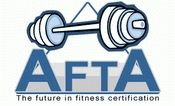 AFTA personal trainer cert (incl nutr). Some online,  some home study. Pre-req.: good knowledge of & exper. w/ equip & exercises REQUIRED for most certs. (high school sports training doesn't qualify; e'd 7/13 to see what does).  Proctored OR non-proctored test. 1 free test re-take. 30-Day money back guar. on hm study, except mats. w/ DVD/CD.  Most 4-6wks; all exp.in & have to 12 mo.