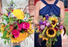 wildflower-bouquets. If you're gonna have flowers at a wedding, why not make them look like nature, instead of a bouquet which might as well be fake?