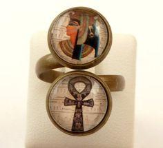 Ägypten Doppel Ring mit Cleopatra und Ankh Kreuz von Schmucktruhe