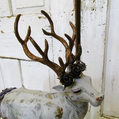 Large buck statue painted gray w/ deep dark by AnitaSperoDesign