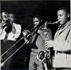 [left to right] Freddie Hubbard, Curtis Fuller, and Wayne Shorter during Art Blakey & The Jazz Messengers' Mosaic session, Englewood Cliffs NJ, October 2 1961 (photo by Francis Wolff)