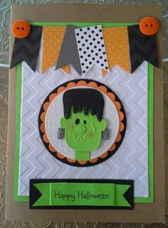 Excellent layout.  Good for a b-day card? Halloween Card  Frankenstein Halloween Card by chucklesandcharms, $4.00
