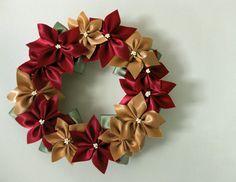 lillyella: Crafting: A Ribbon Poinsettia Wreath