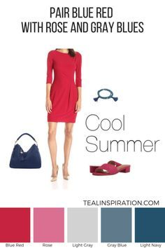 How to Wear Red if You're a Summer – Teal Inspiration Summer Color Palettes, Soft Summer Color Palette, Summer Colors, Fashion Colours, Colorful Fashion, Cool Winter, Seasonal Color Analysis, Summer Shades, Cool Summer Outfits