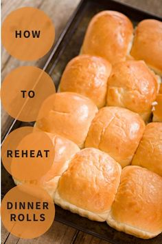 Learn the best way to reheat dinner rolls using one of our four reheating methods. Fluffy Dinner Rolls, Homemade Dinner Rolls, Slow Cooker, Oven, Bread, Dishes, Baking, Food, Brot