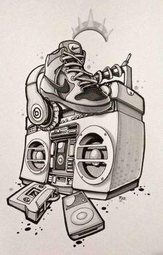 Trendy Tattoo Hip Hop Pictures – Graffiti World Hip Hop Tattoo, Music Tattoos, New Tattoos, Cool Tattoos, Picture Tattoos, Small Tattoos, Arte Do Hip Hop, Hip Hop Art, Graffiti Drawing