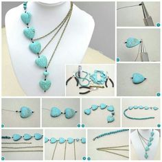 Asymmetrical bead and chain necklace