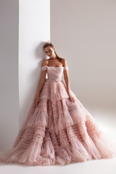Dreamy blush gown with elegant off-the-shoulder Bardot neckline, a hidden zipper and a frill-layered flared skirt. Ball Dresses, Bridal Dresses, Ball Gowns, Glamouröse Outfits, Blush Gown, Blush Dresses, Party Dresses Online, Evening Dresses, Formal Dresses