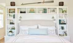 built ins around headboard in either the guest RM or Master...could be really cool for storage and a statement