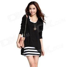 8cb11caf3e23a Fashionable Cotton + Chiffon Two-Piece Dress - Black + White (Free Size) ·  タンクドレスレース ...