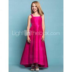 a-lijn riemen vierkante taft bloem meisje jurk