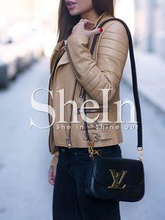 Khaki PU Leather  Zipper Jacket 26.99